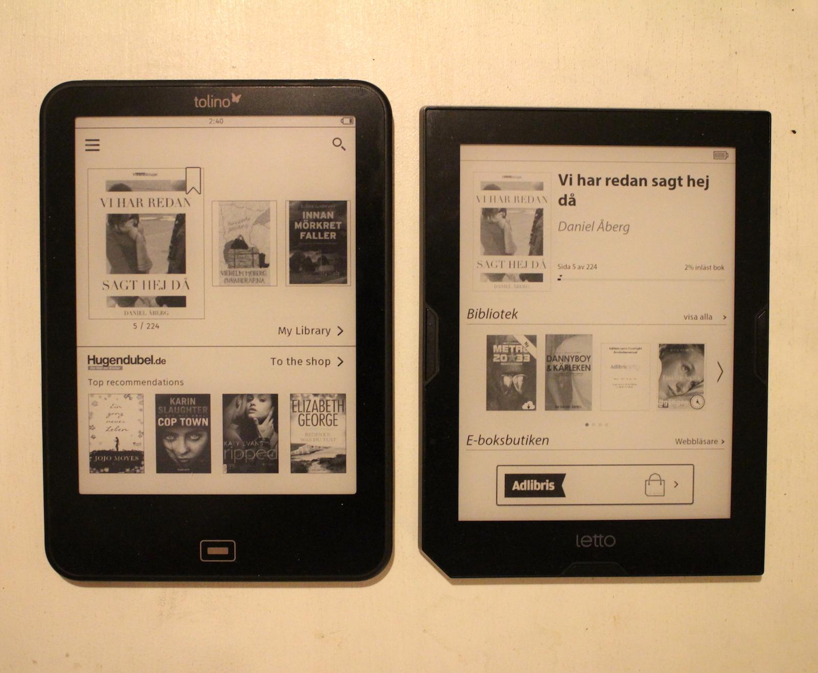Startsidan för det egna e-boksbiblioteket i Tolino Vision 2 kontra Adlibris Letto Frontlight.